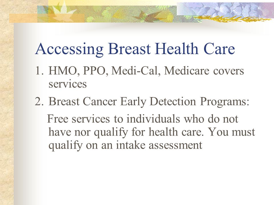 Accessing Breast Health Care 1.HMO, PPO, Medi-Cal, Medicare covers services 2.Breast Cancer Early Detection Programs: Free services to individuals who do not have nor qualify for health care.
