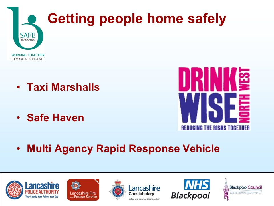 Getting people home safely Taxi Marshalls Safe Haven Multi Agency Rapid Response Vehicle