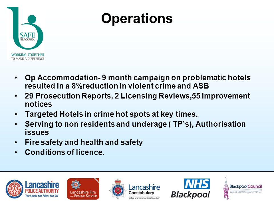 Operations Op Accommodation- 9 month campaign on problematic hotels resulted in a 8%reduction in violent crime and ASB 29 Prosecution Reports, 2 Licensing Reviews,55 improvement notices Targeted Hotels in crime hot spots at key times.