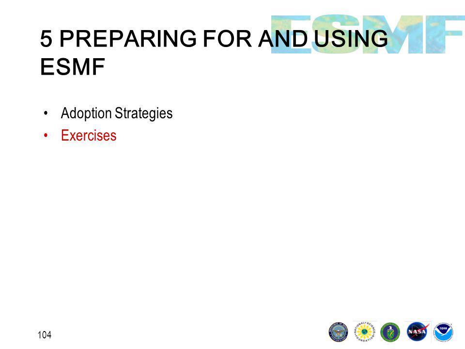 104 5 PREPARING FOR AND USING ESMF Adoption Strategies Exercises