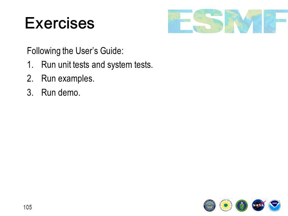 105 Exercises Following the User's Guide: 1.Run unit tests and system tests.