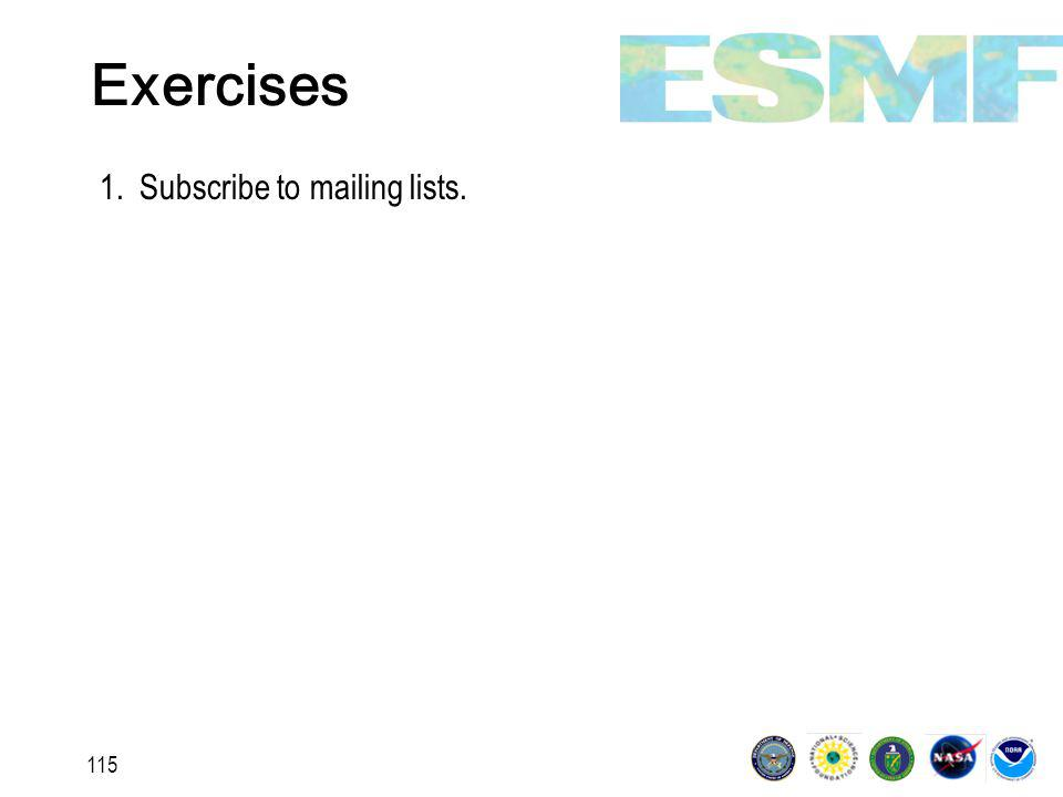 115 Exercises 1.Subscribe to mailing lists.