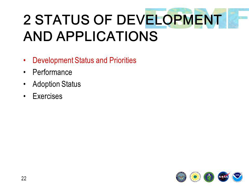 22 2 STATUS OF DEVELOPMENT AND APPLICATIONS Development Status and Priorities Performance Adoption Status Exercises