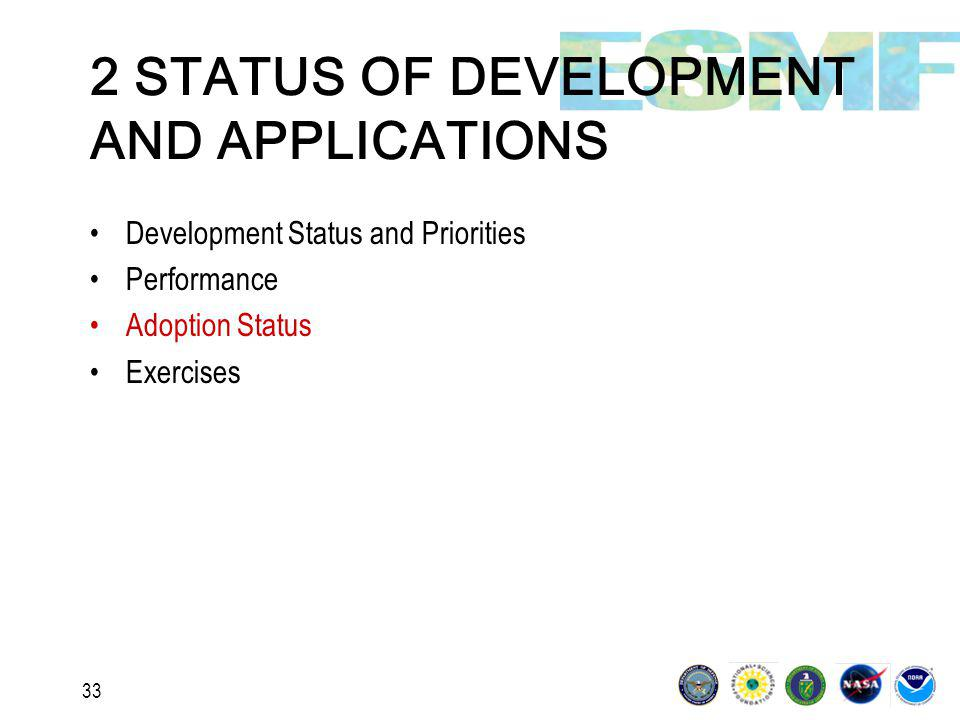 33 2 STATUS OF DEVELOPMENT AND APPLICATIONS Development Status and Priorities Performance Adoption Status Exercises