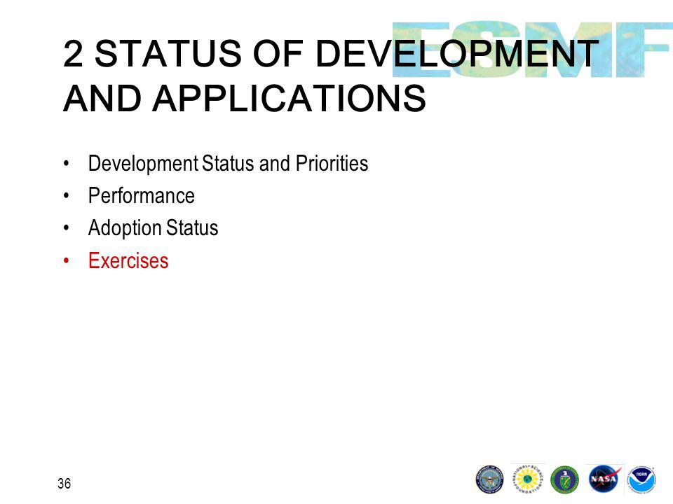 36 2 STATUS OF DEVELOPMENT AND APPLICATIONS Development Status and Priorities Performance Adoption Status Exercises