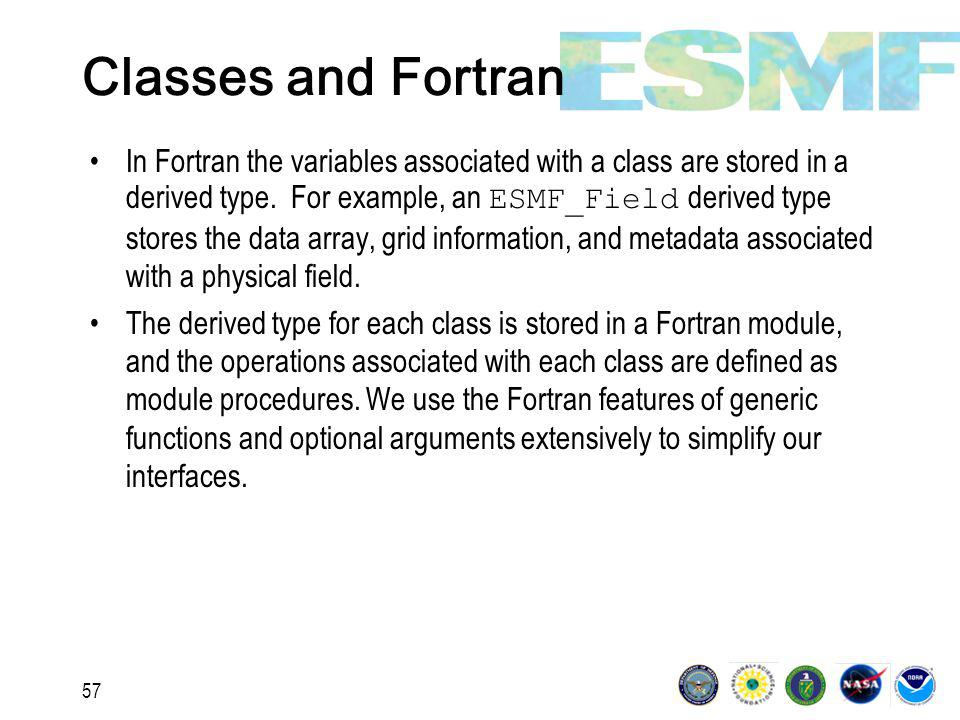 57 Classes and Fortran In Fortran the variables associated with a class are stored in a derived type.