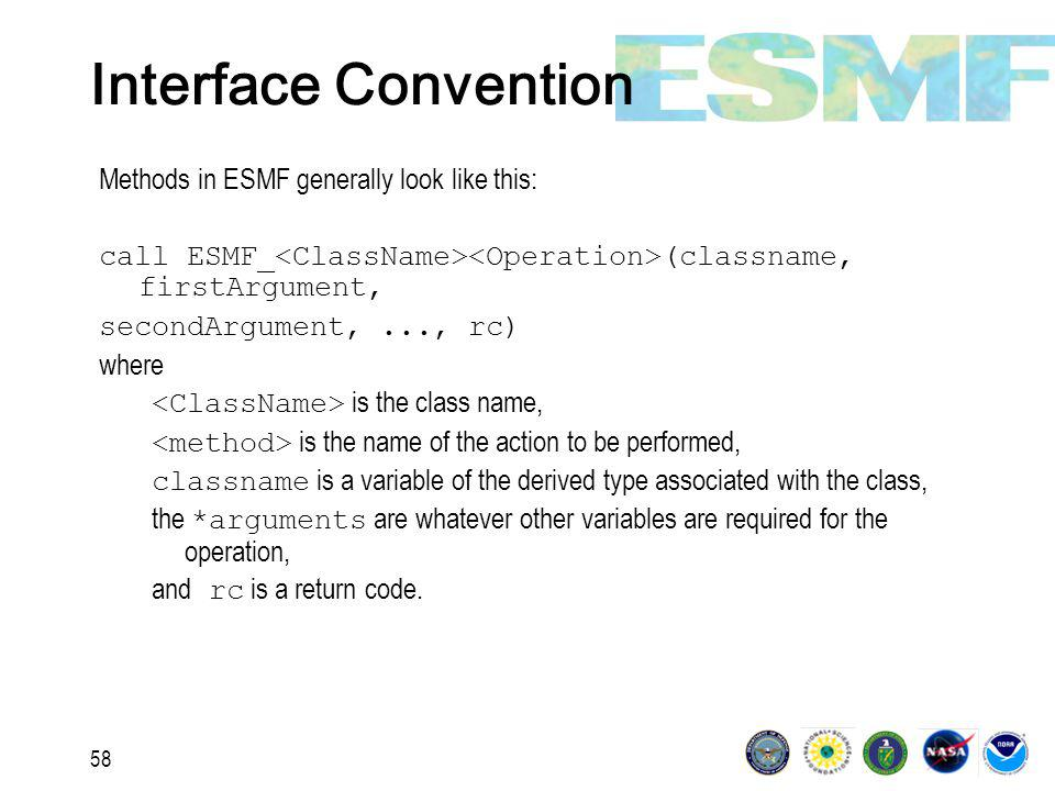 58 Interface Convention Methods in ESMF generally look like this: call ESMF_ (classname, firstArgument, secondArgument,..., rc) where is the class name, is the name of the action to be performed, classname is a variable of the derived type associated with the class, the *arguments are whatever other variables are required for the operation, and rc is a return code.