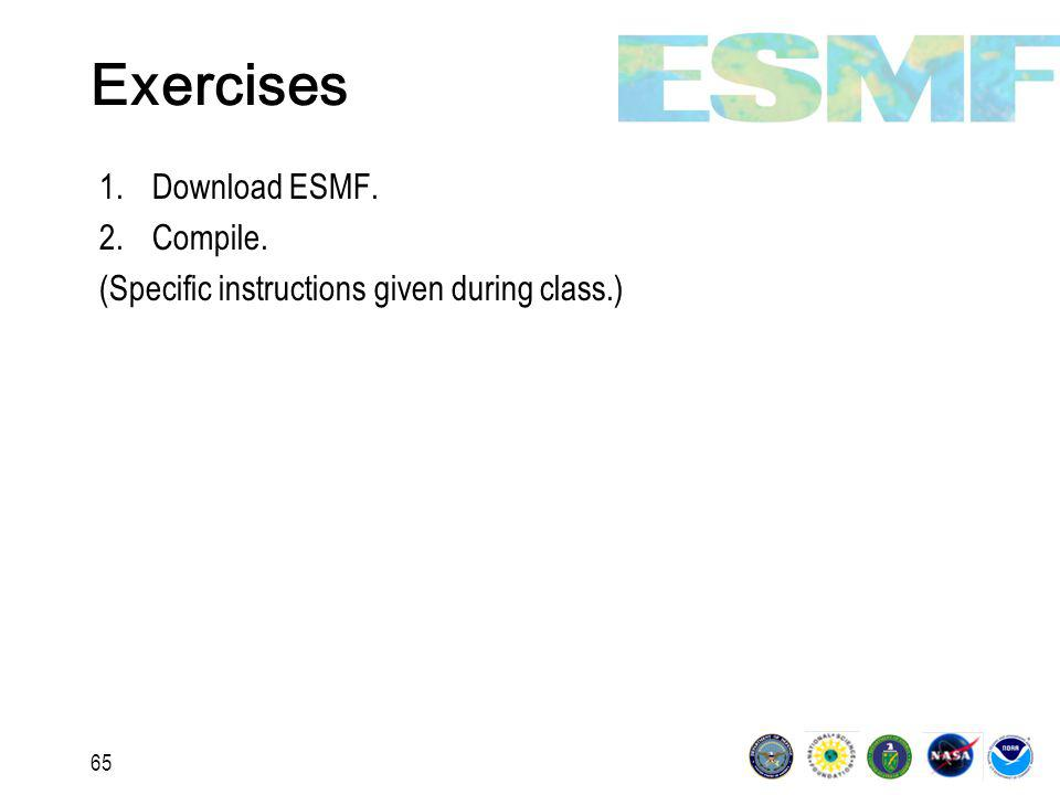 65 Exercises 1.Download ESMF. 2.Compile. (Specific instructions given during class.)