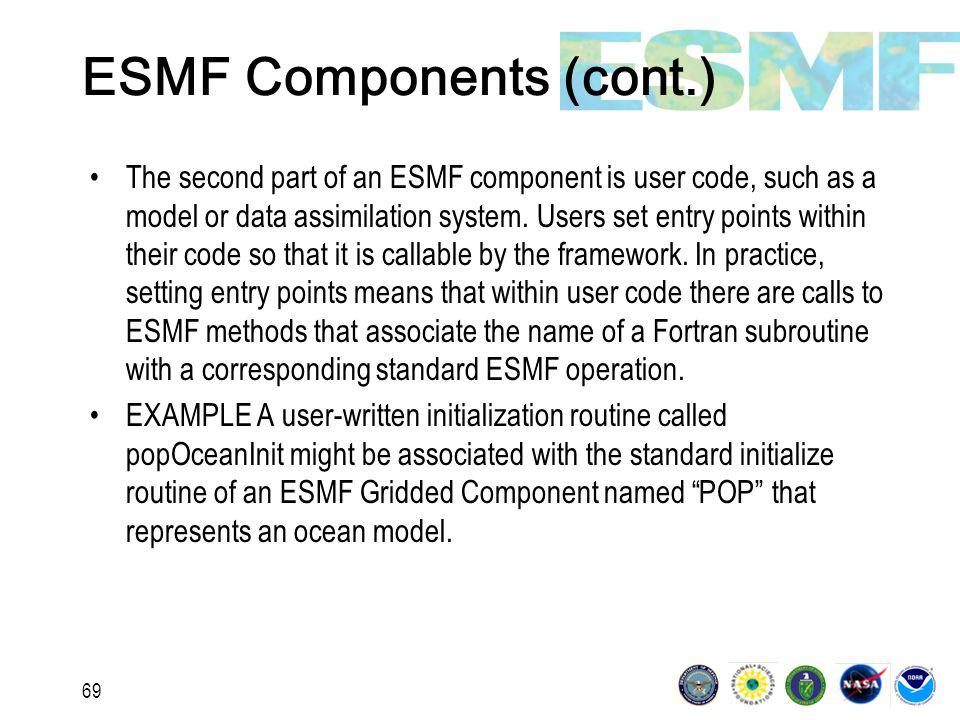 69 ESMF Components (cont.) The second part of an ESMF component is user code, such as a model or data assimilation system.