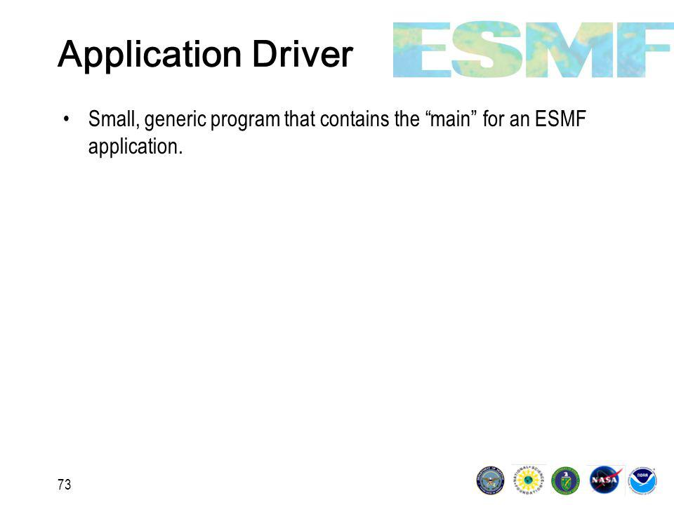 73 Application Driver Small, generic program that contains the main for an ESMF application.