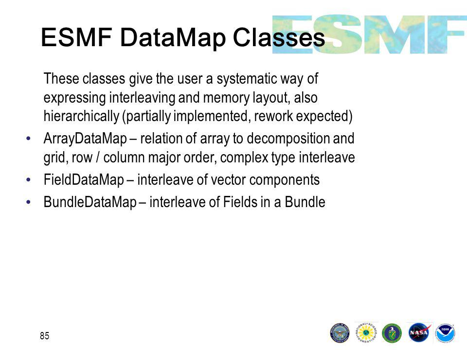85 ESMF DataMap Classes These classes give the user a systematic way of expressing interleaving and memory layout, also hierarchically (partially implemented, rework expected) ArrayDataMap – relation of array to decomposition and grid, row / column major order, complex type interleave FieldDataMap – interleave of vector components BundleDataMap – interleave of Fields in a Bundle
