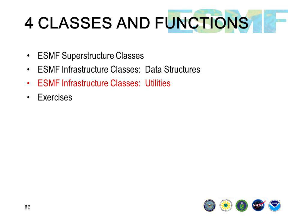 86 4 CLASSES AND FUNCTIONS ESMF Superstructure Classes ESMF Infrastructure Classes: Data Structures ESMF Infrastructure Classes: Utilities Exercises