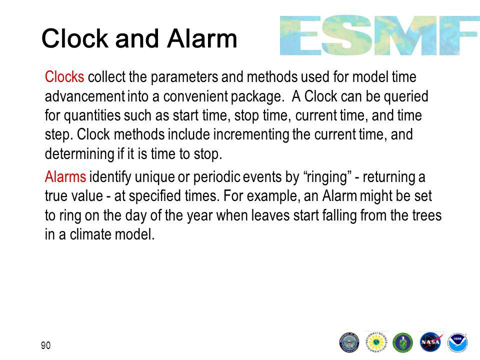 90 Clock and Alarm Clocks collect the parameters and methods used for model time advancement into a convenient package.