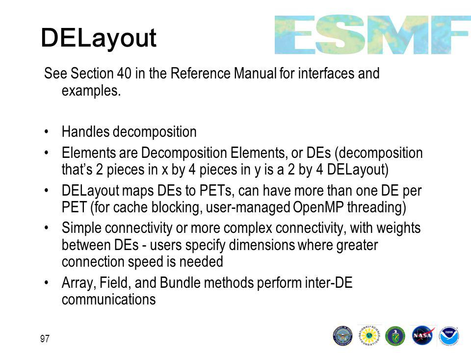 97 DELayout See Section 40 in the Reference Manual for interfaces and examples.