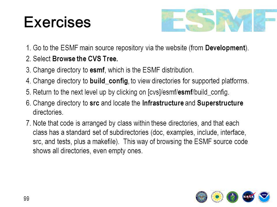 99 Exercises 1.Go to the ESMF main source repository via the website (from Development ).