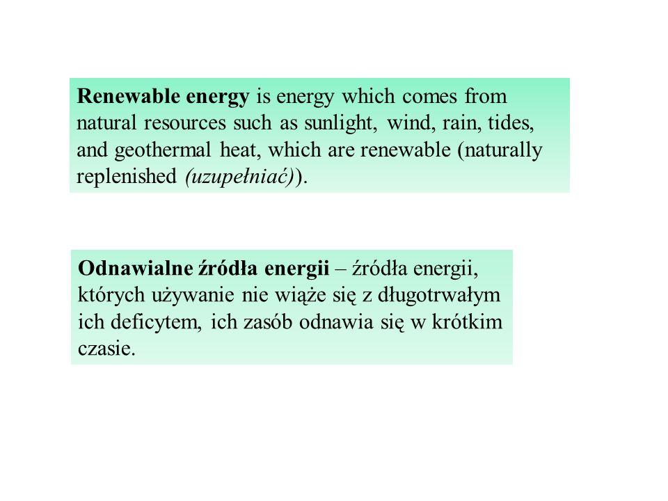 Odnawialne źródła energii – źródła energii, których używanie nie wiąże się z długotrwałym ich deficytem, ich zasób odnawia się w krótkim czasie.