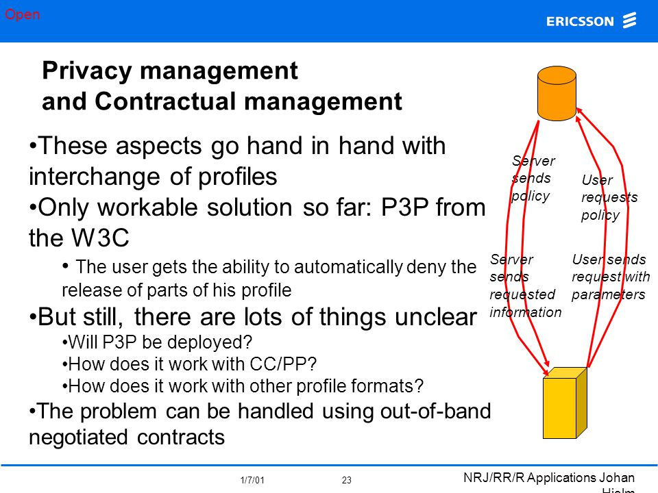 Open 1/7/01 NRJ/RR/R Applications Johan Hjelm 23 Privacy management and Contractual management These aspects go hand in hand with interchange of profiles Only workable solution so far: P3P from the W3C The user gets the ability to automatically deny the release of parts of his profile But still, there are lots of things unclear Will P3P be deployed.