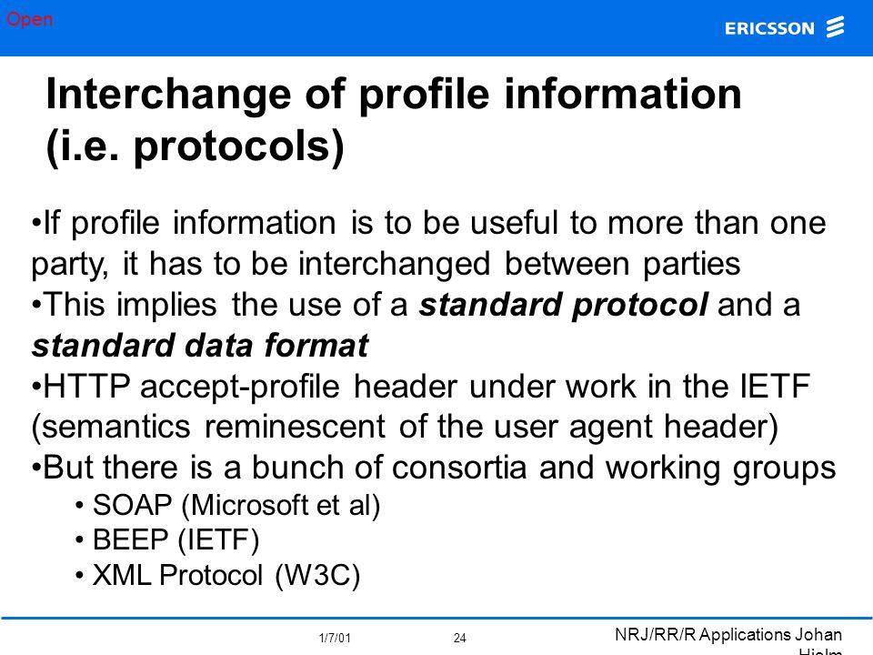 Open 1/7/01 NRJ/RR/R Applications Johan Hjelm 24 Interchange of profile information (i.e.