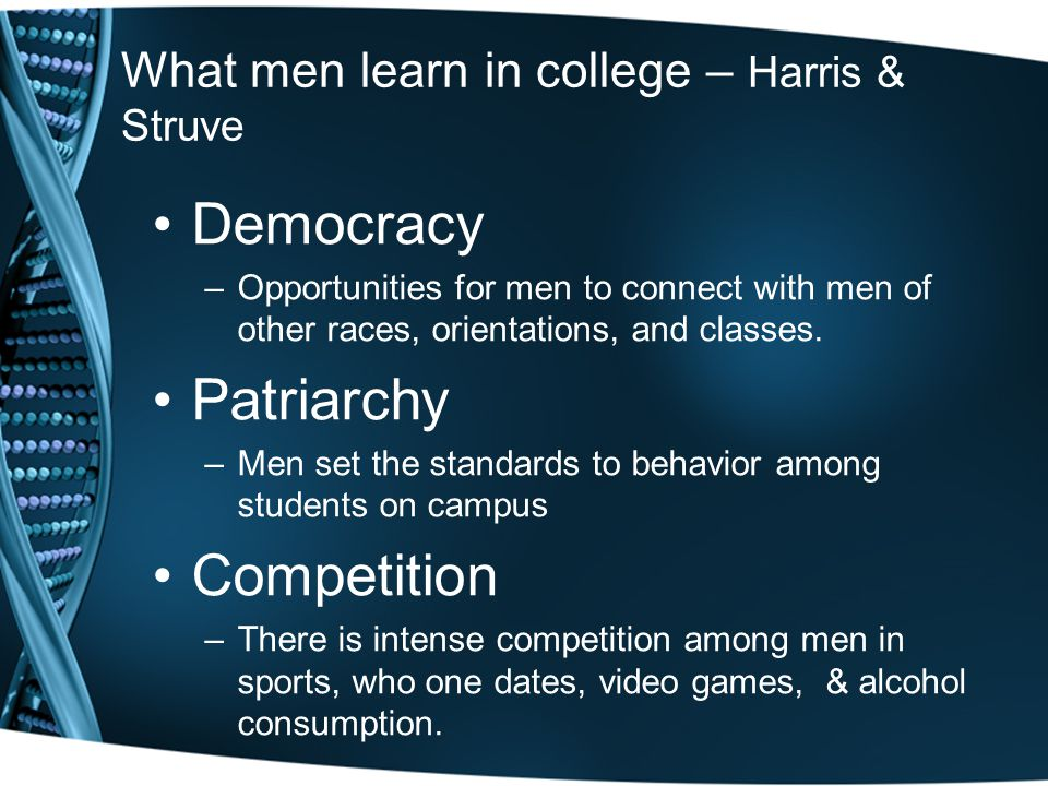 What men learn in college – Harris & Struve Democracy –Opportunities for men to connect with men of other races, orientations, and classes. Patriarchy