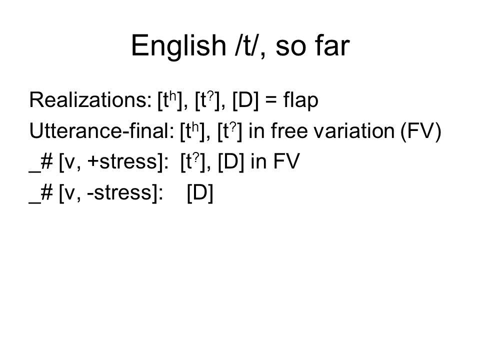 English /t/, so far Realizations: [t h ], [t . ], [D] = flap Utterance-final: [t h ], [t .