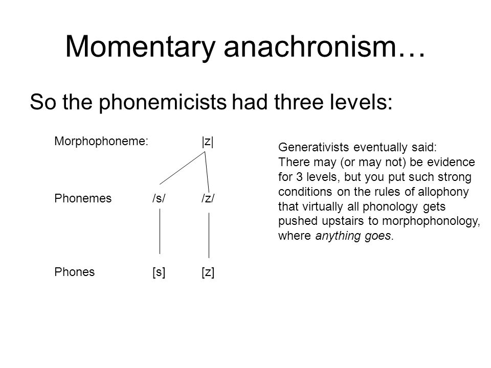 Momentary anachronism… So the phonemicists had three levels: Morphophoneme: |z| Phonemes/s//z/ Phones[s][z] Generativists eventually said: There may (or may not) be evidence for 3 levels, but you put such strong conditions on the rules of allophony that virtually all phonology gets pushed upstairs to morphophonology, where anything goes.