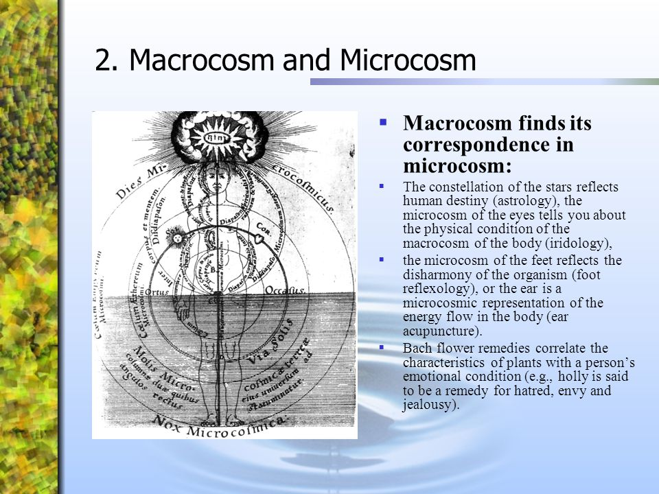2. Macrocosm and Microcosm  Macrocosm finds its correspondence in microcosm:  The constellation of the stars reflects human destiny (astrology), the