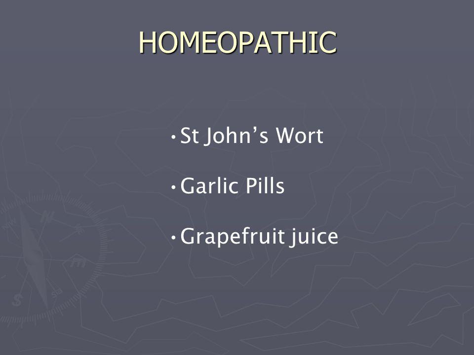 HOMEOPATHIC St John's Wort Garlic Pills Grapefruit juice