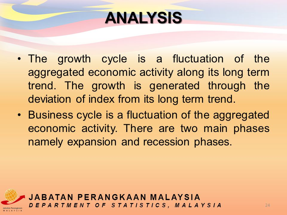 The growth cycle is a fluctuation of the aggregated economic activity along its long term trend. The growth is generated through the deviation of inde