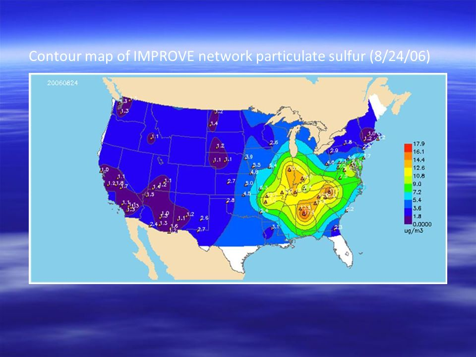 Contour map of IMPROVE network particulate sulfur (8/24/06)