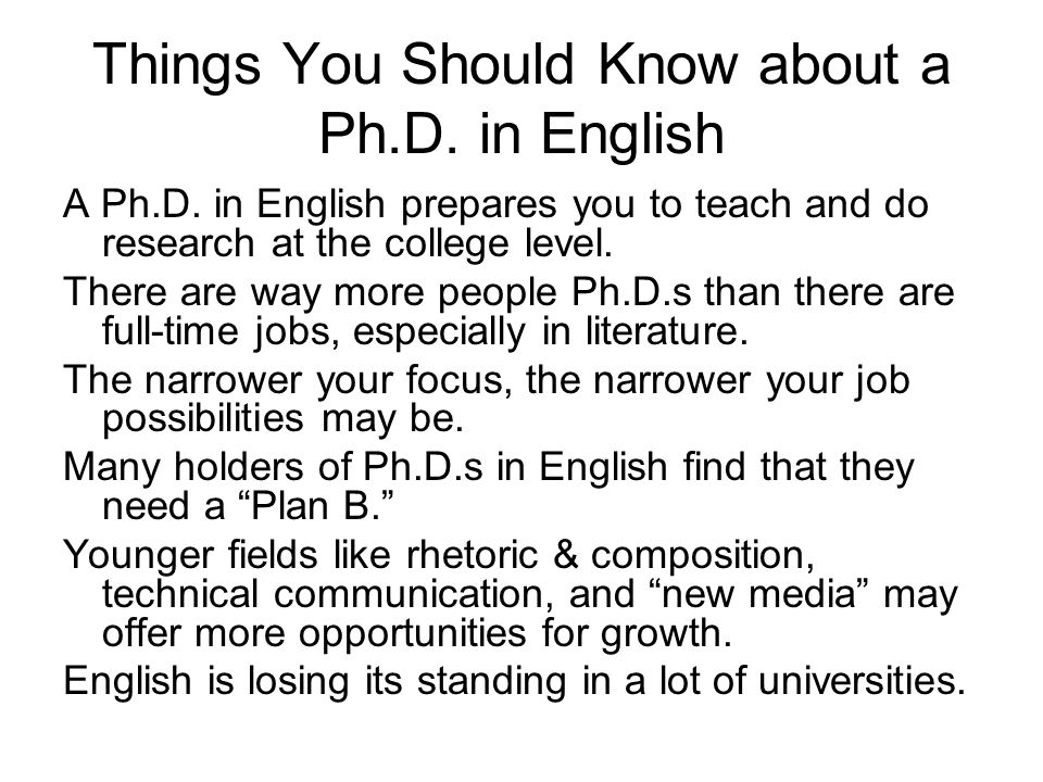 Things You Should Know about a Ph.D. in English A Ph.D.