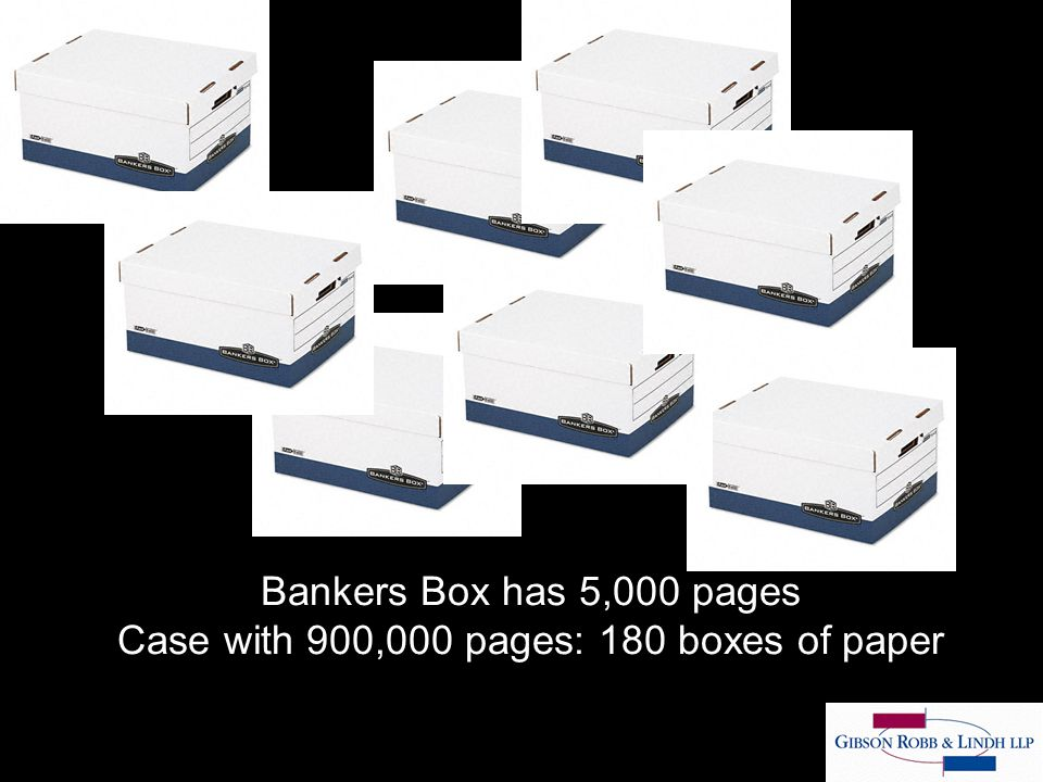 Bankers Box has 5,000 pages Case with 900,000 pages: 180 boxes of paper