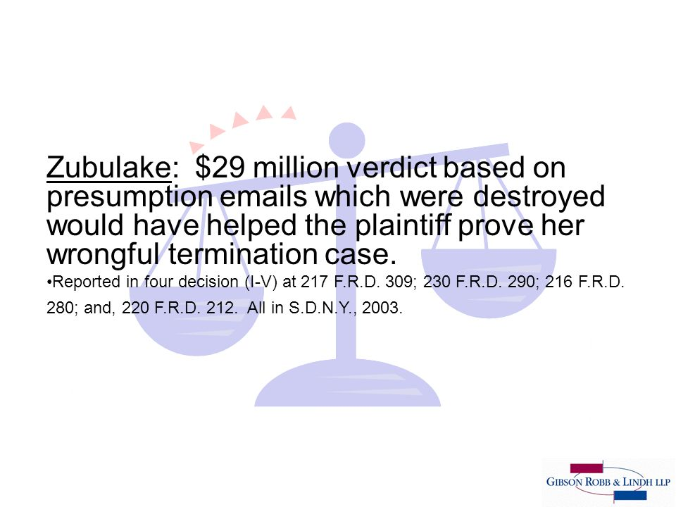 Zubulake: $29 million verdict based on presumption emails which were destroyed would have helped the plaintiff prove her wrongful termination case.