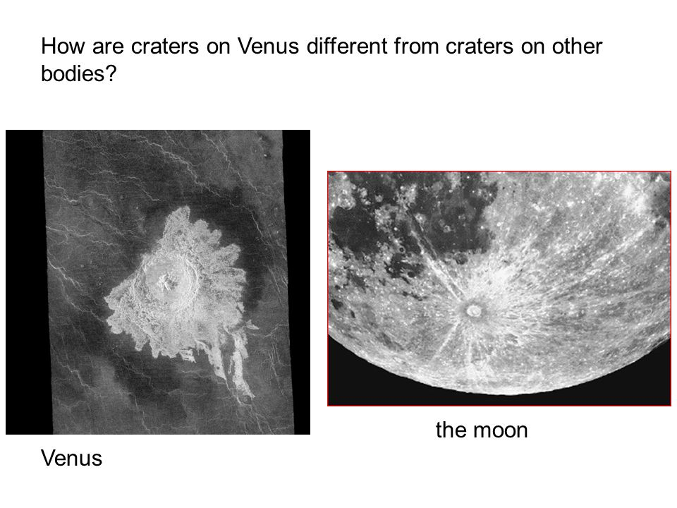 How are craters on Venus different from craters on other bodies Venus the moon