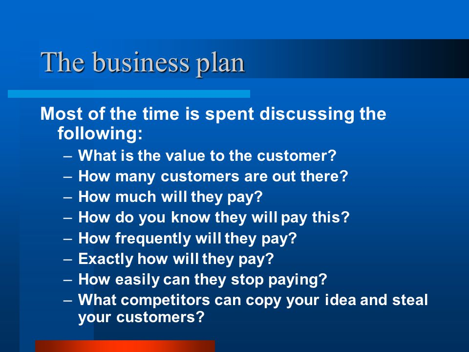 The business plan Most of the time is spent discussing the following: –What is the value to the customer.
