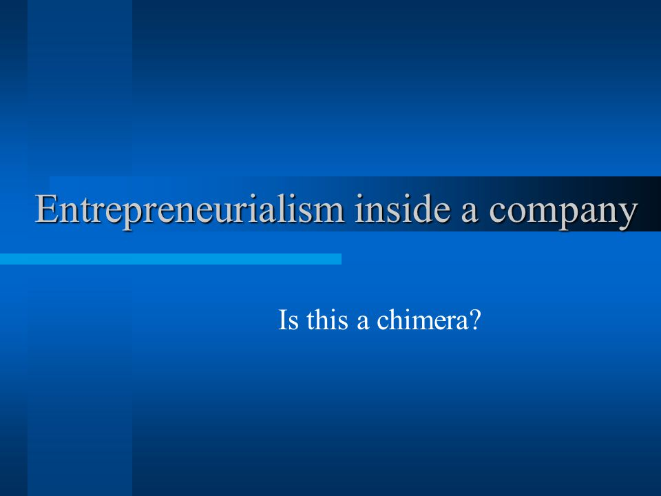 Entrepreneurialism inside a company Is this a chimera
