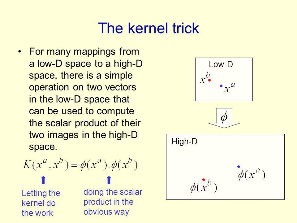 The kernel trick For many mappings from a low-D space to a high-D space, there is a simple operation on two vectors in the low-D space that can be used to compute the scalar product of their two images in the high-D space.