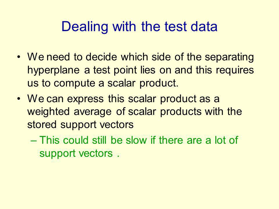 Dealing with the test data We need to decide which side of the separating hyperplane a test point lies on and this requires us to compute a scalar product.