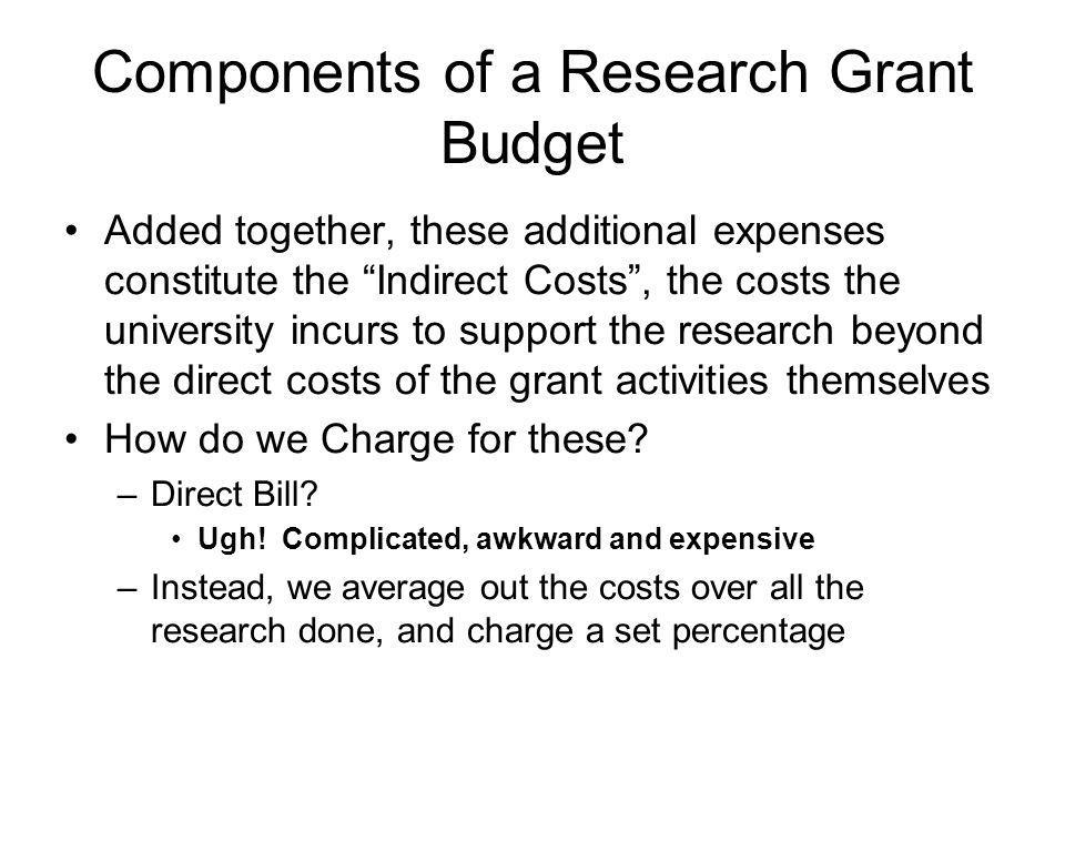 Components of a Research Grant Budget Every few years, we conduct a study of the total cost of all research (both sponsored and non-sponsored) conducted on the campus, and the total cost of supporting the research.