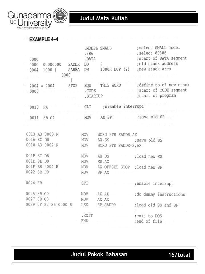 Judul Mata Kuliah Judul Pokok Bahasan 16/total