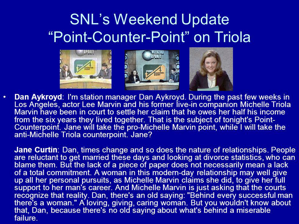"SNL's Weekend Update ""Point-Counter-Point"" on Triola Dan Aykroyd: I'm station manager Dan Aykroyd. During the past few weeks in Los Angeles, actor Lee"