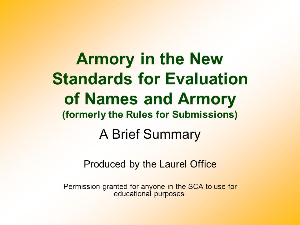 Overall Organization Letters indicate the sections of the Standards:  GP — General Principles  PN — Personal Names  NPN — Non-Personal Names  A — Armory GP talks about underlying principles and defines several key terms, like 'period', 'substantial', and so on.