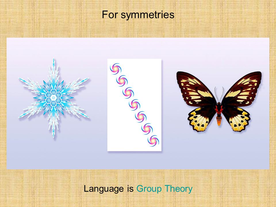 For symmetries Language is Group Theory