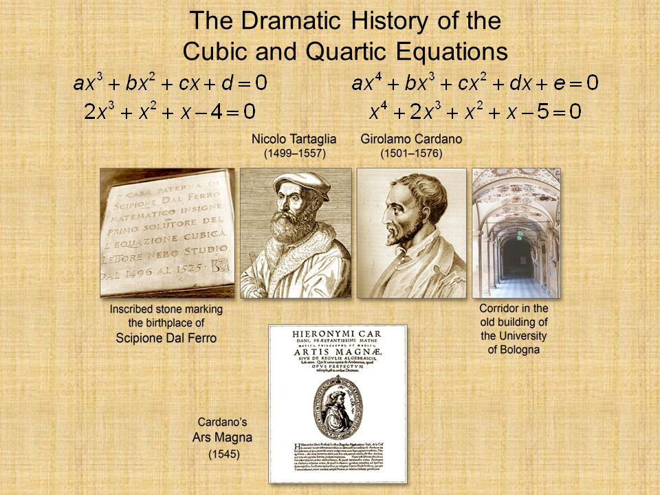 The Dramatic History of the Cubic and Quartic Equations
