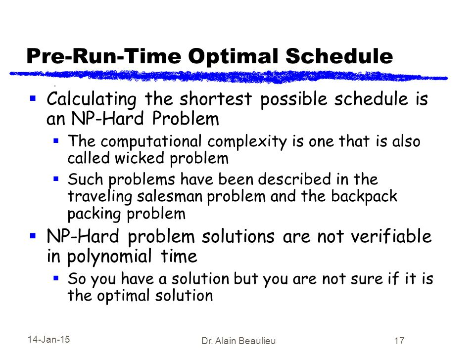 14-Jan-15 Dr. Alain Beaulieu 17 Pre-Run-Time Optimal Schedule  Calculating the shortest possible schedule is an NP-Hard Problem  The computational c