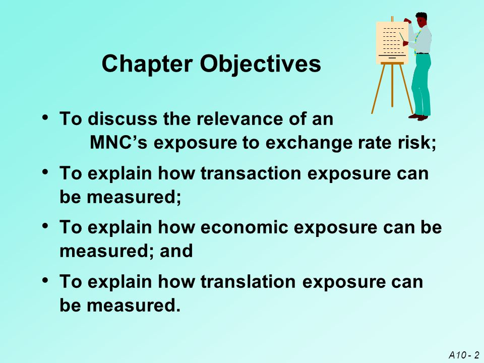 A10 - 23 Translation Exposure The exposure of the MNC's consolidated financial statements to exchange rate fluctuations is known as translation exposure.