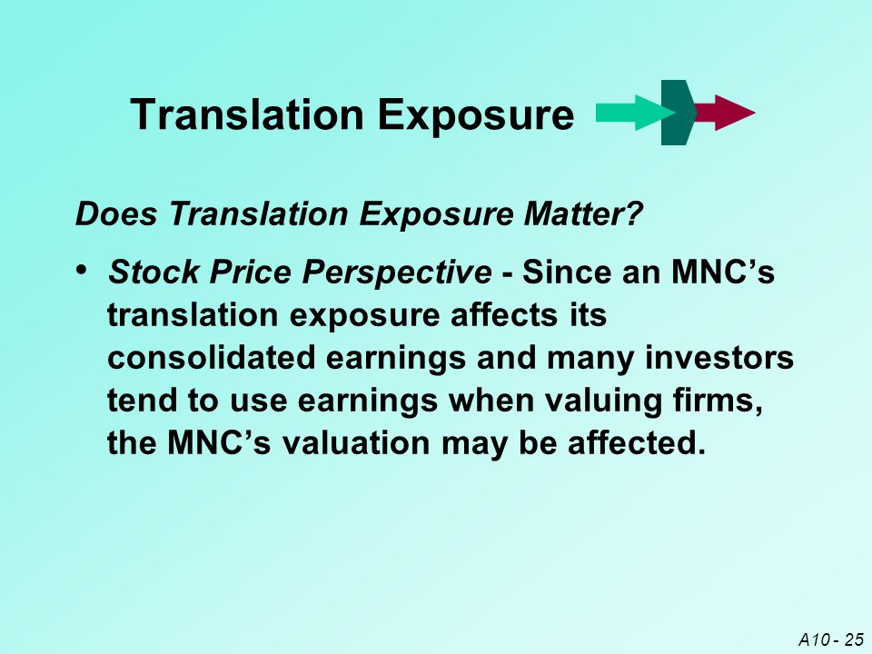 A10 - 25 Translation Exposure Stock Price Perspective - Since an MNC's translation exposure affects its consolidated earnings and many investors tend