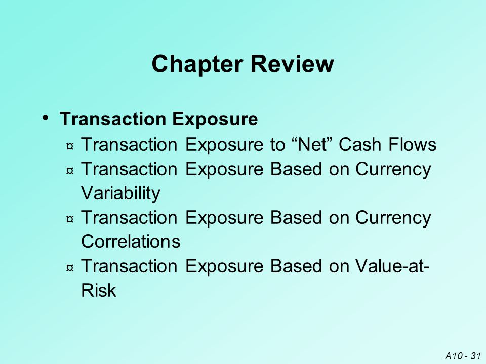 "A10 - 31 Chapter Review Transaction Exposure ¤ Transaction Exposure to ""Net"" Cash Flows ¤ Transaction Exposure Based on Currency Variability ¤ Transac"