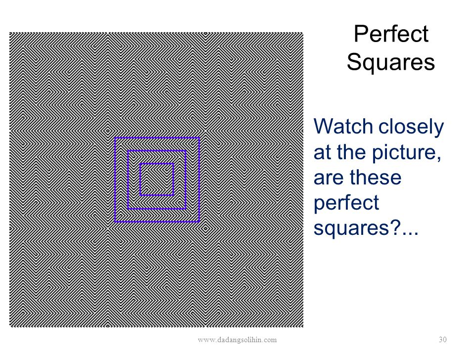 Perfect Squares Watch closely at the picture, are these perfect squares?... www.dadangsolihin.com30