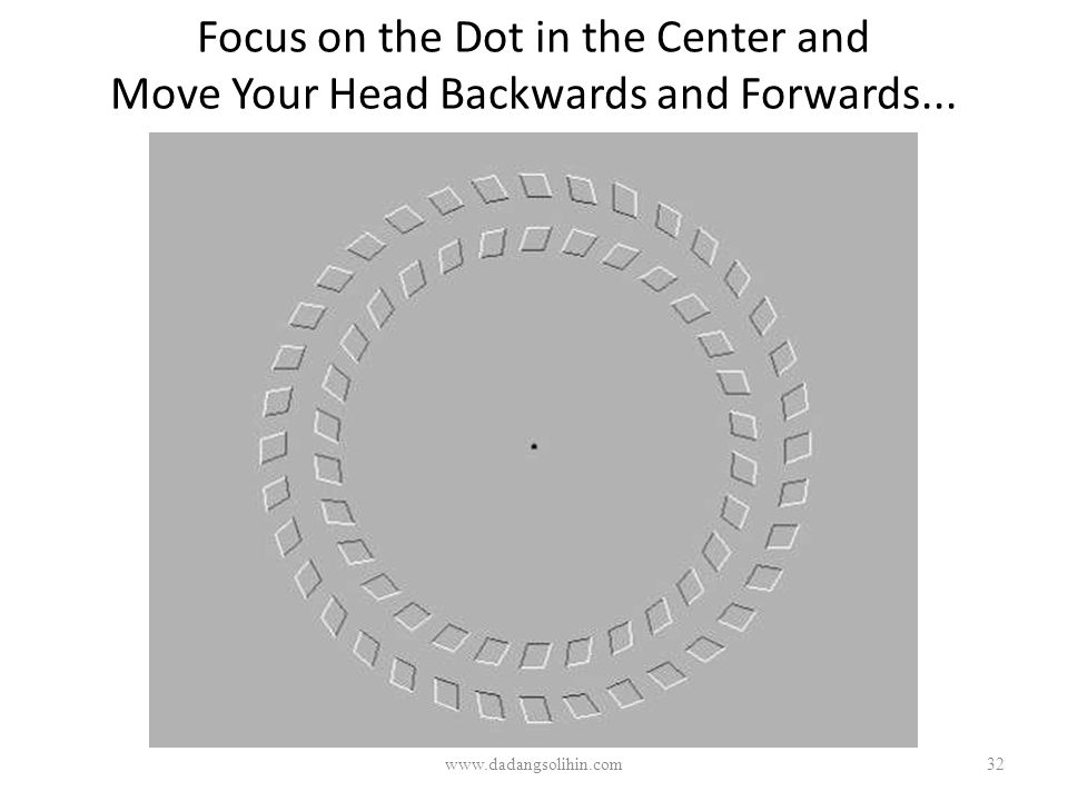 Focus on the Dot in the Center and Move Your Head Backwards and Forwards... www.dadangsolihin.com32