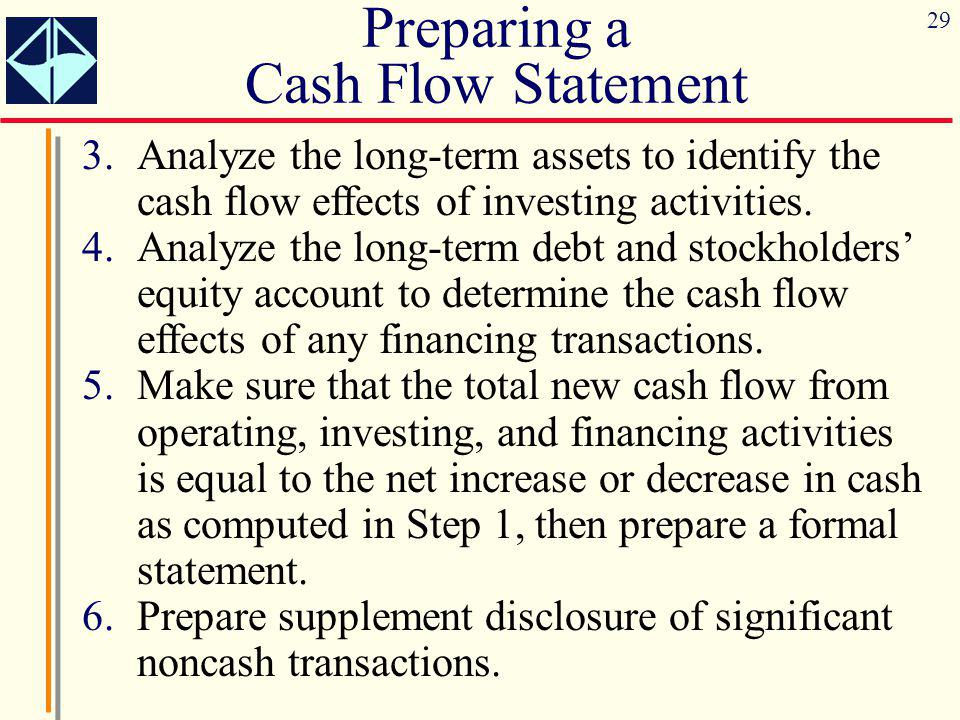 29 3.Analyze the long-term assets to identify the cash flow effects of investing activities. 4.Analyze the long-term debt and stockholders' equity acc